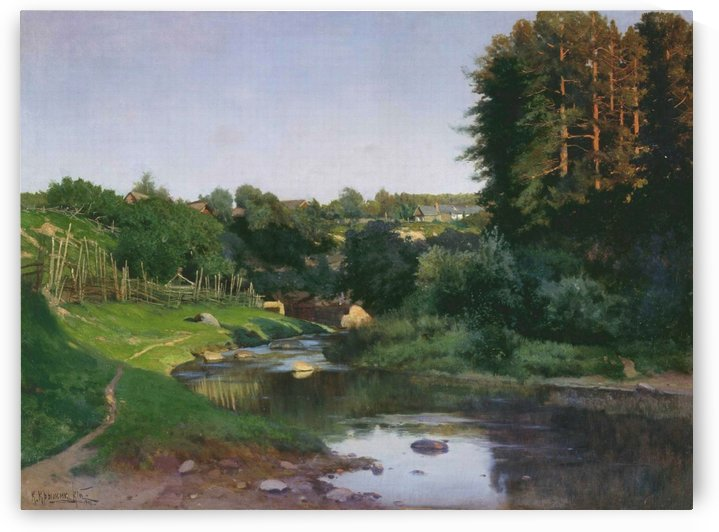 Village on the banks of a river by Konstantin Yakovlevich Kryzhitsky