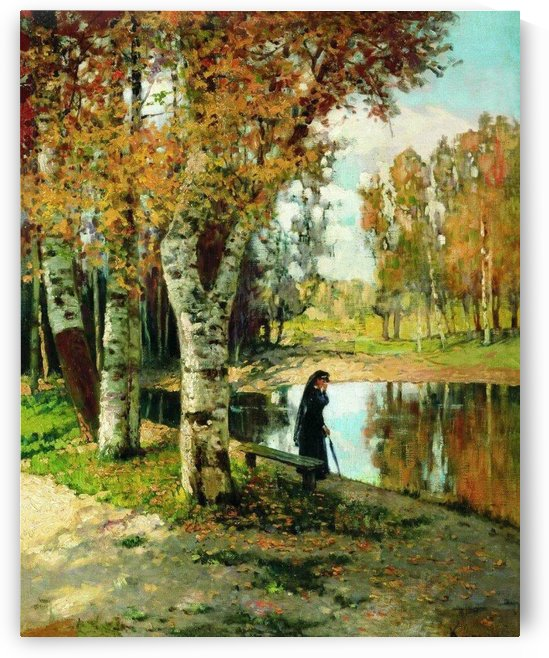 Lady in black dress standing near small lake by Konstantin Yakovlevich Kryzhitsky
