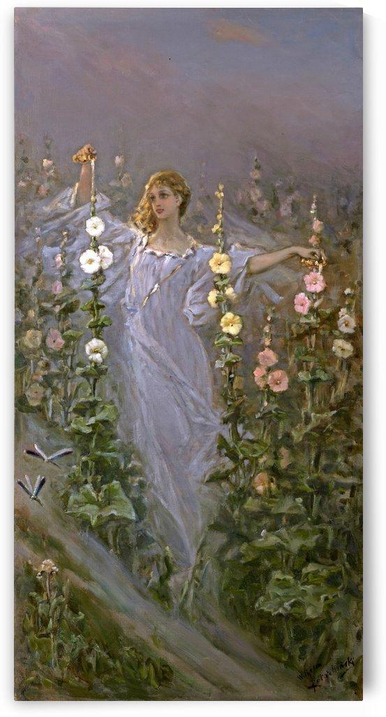 Girl amongst Hollyhocks by Vasili Alexandrovich Wilhelm Kotarbinsky