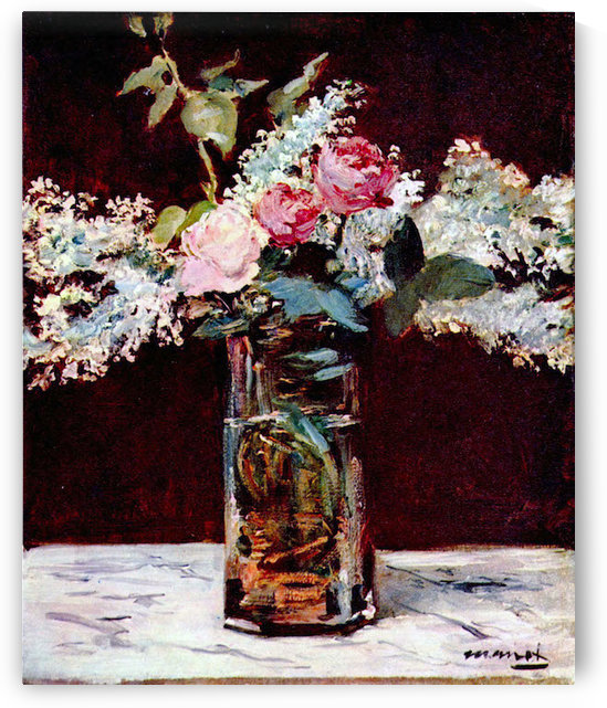 Still life, lilac and roses by Manet by Manet