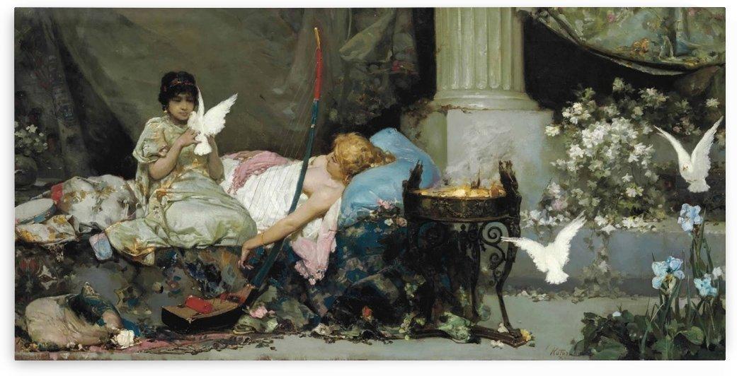Favorite of the Seraglio with her handmaiden by Vasili Alexandrovich Wilhelm Kotarbinsky