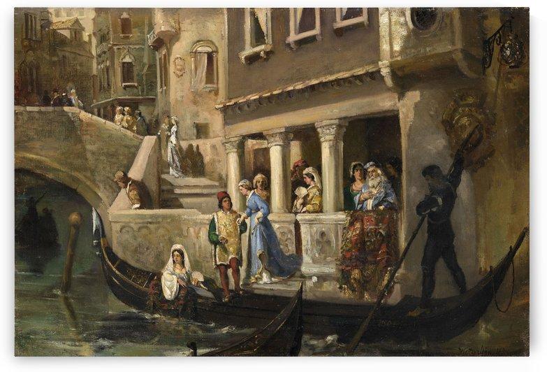 Dignitaries boarding a gondola on a Venetian backwater by Vasili Alexandrovich Wilhelm Kotarbinsky
