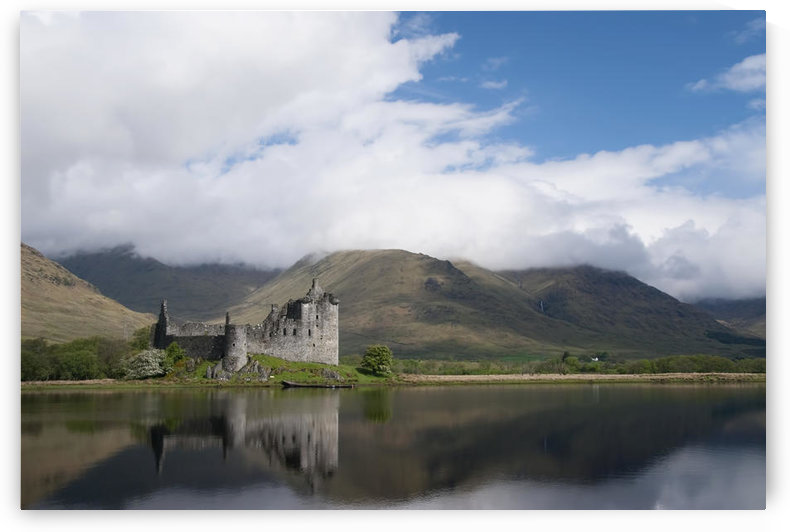 United Kingdom, Scotland, Kilcurn Castle on a peninsula at the end of Loch Awe, Castle reflecting in water. by PacificStock