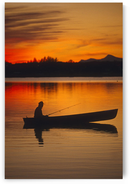 Man Canoeing @ Sunset In Lake Southcentral Ak by PacificStock