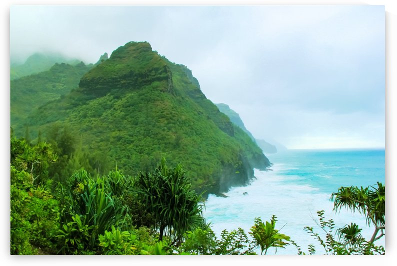green mountain with blue ocean view at Kauai, Hawaii, USA by TimmyLA