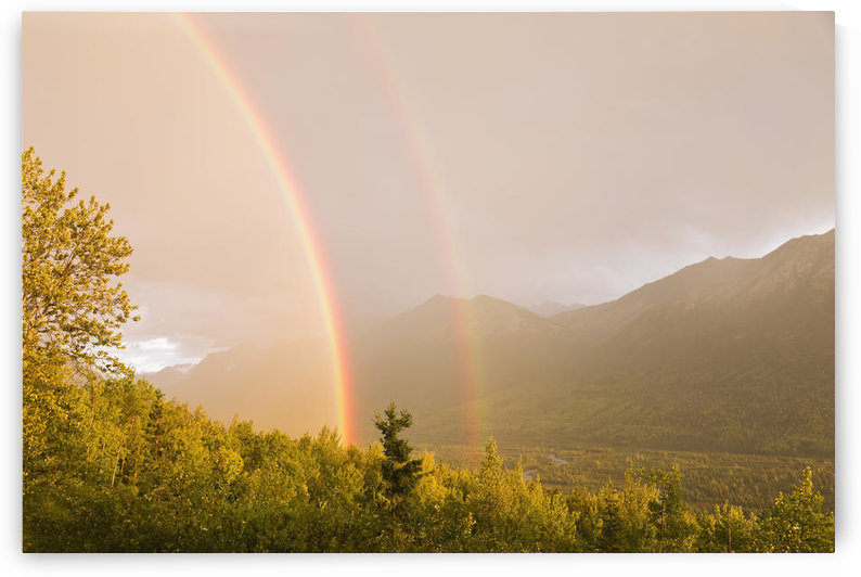 Sunset View Of A Double Rainbow Arching Over Eagle River Valley After A Passing Storm, Southcentral Alaska, Summer by PacificStock