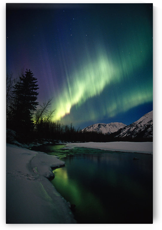 Northern Lights Over Portage River Valley Sc Alaska by PacificStock