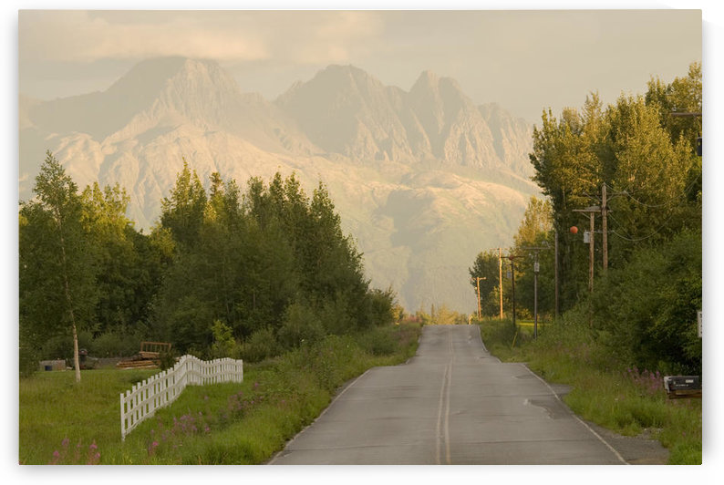Rural Road Leading To View Of Chugach Mountains Near Palmer, Alaska In Matanuska Valley At Sunset by PacificStock