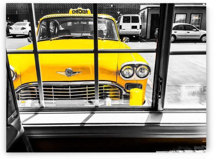 vintage yellow taxi car with black and white background by TimmyLA