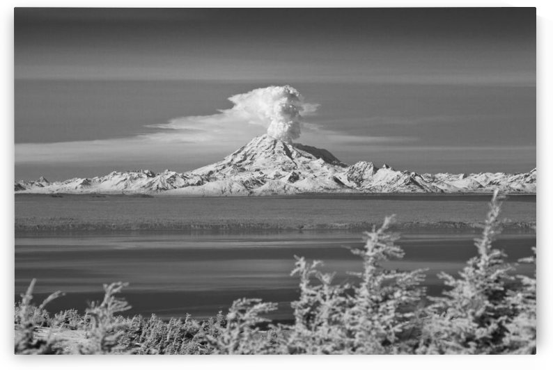 Infrared Image Of Mt. Redoubt Volcano With A Large Plume Of Steam And Ash Venting, Alaska by PacificStock