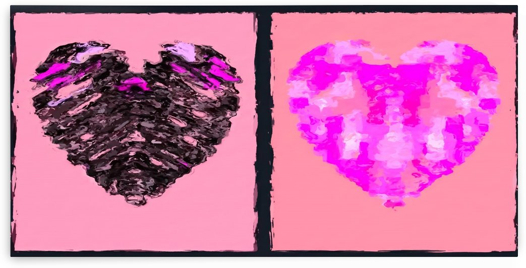 pink heart and black heart shape with pink background by TimmyLA