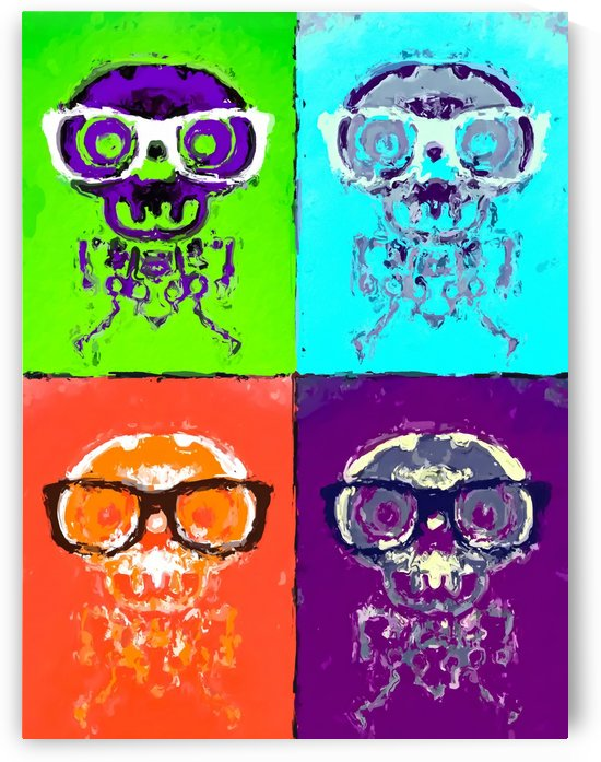 funny skull and bone with glasses with green blue orange and purple background by TimmyLA