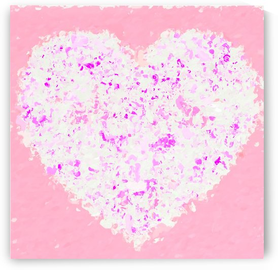 white and pink heart shape with pink background by TimmyLA