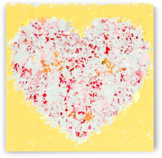 pink and red heart shape with yellow background by TimmyLA