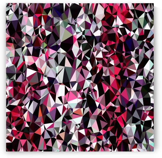 geometric triangle polygon pattern abstract in red pink black by TimmyLA