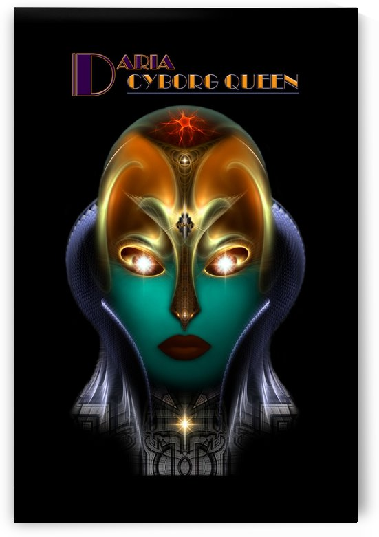 Daria Cyborg Queen Tech On Black Fractal Portrait by xzendor7