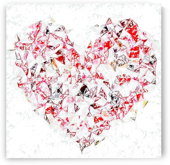 red heart shape abstract with white abstract background by TimmyLA