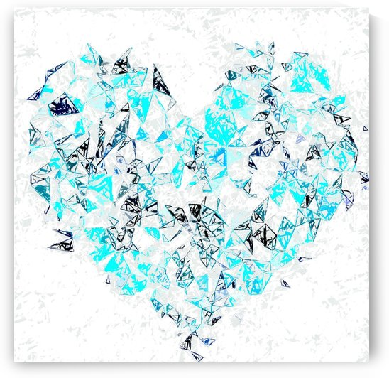 blue heart shape abstract with white abstract background by TimmyLA