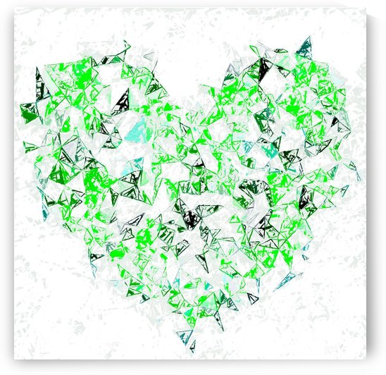 green heart shape abstract with white abstract background by TimmyLA