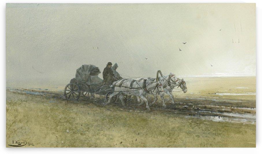Travelers driving a troika after the rain by Nikolai Nikolaevich Karazin