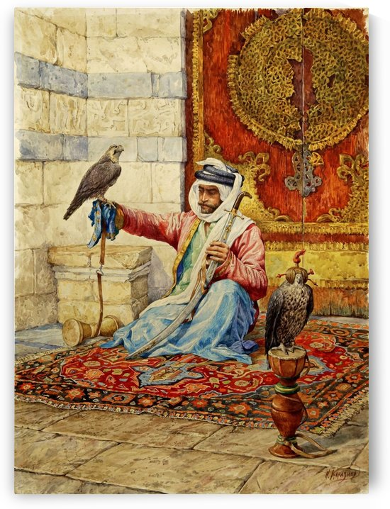 Arab falconer in a Moorish interior by Nikolai Nikolaevich Karazin