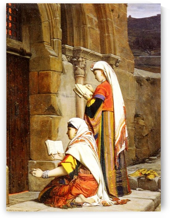 Prayers at the tomb of the Virgin, Jerusalem by Jean Jules Antoine Lecomte du Nouy