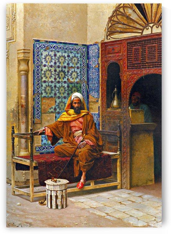 Arab smoking long pipe by Ludwig Deutsch