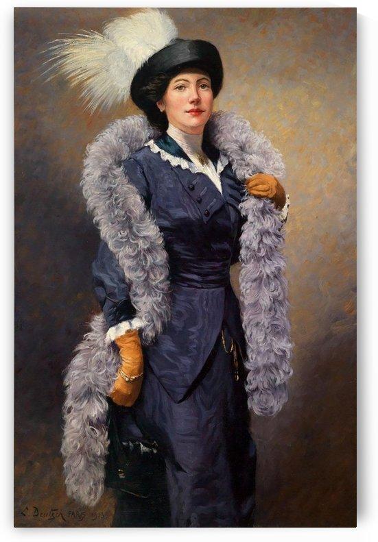 Elegant woman with plumed hat, 1913 by Ludwig Deutsch