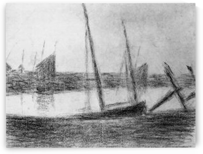 Study of boat and anchor by Seurat by Seurat
