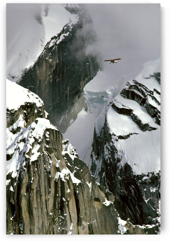 Glacier Pilot & Plane In Ak Range Moose's Tooth In Ak by PacificStock