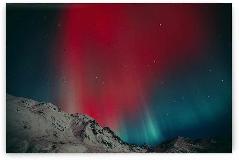 Red Aurora Over Talkeetna Mountains At Hatcher Pass In Southcentral, Alaska by PacificStock