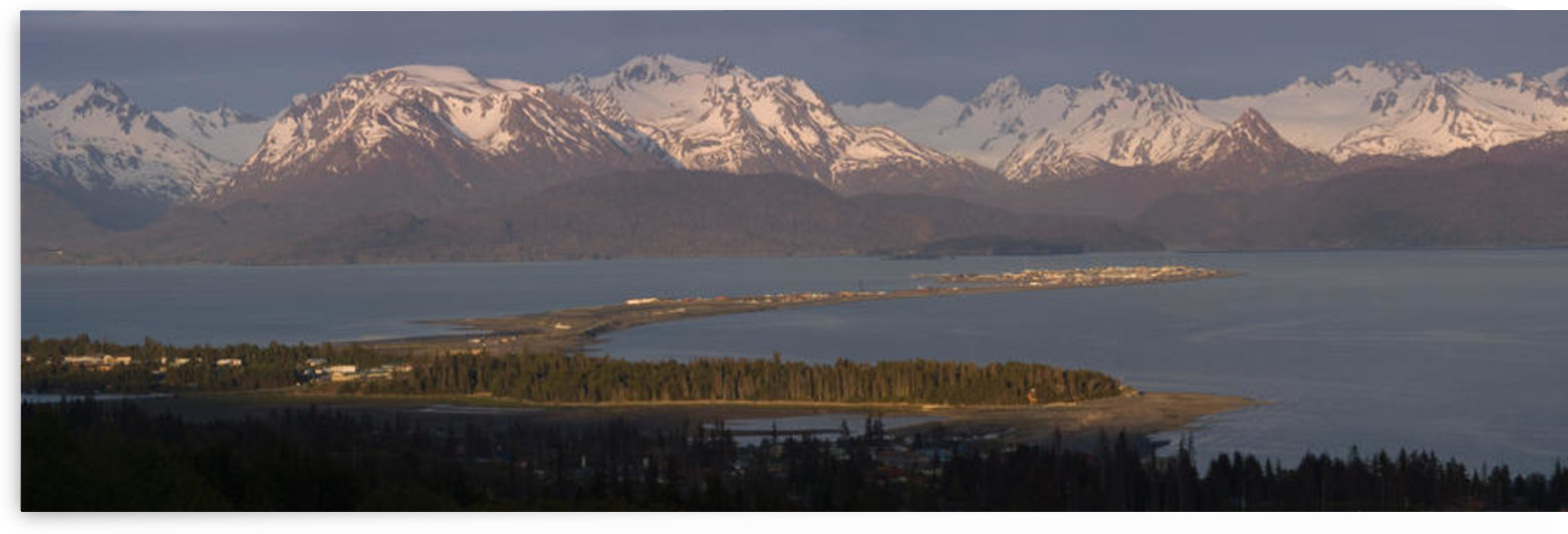 Alpenglow Light On Homer Spit & Kenai Mountains Kachemak Bay Kenai Peninsula Alaska Summer by PacificStock