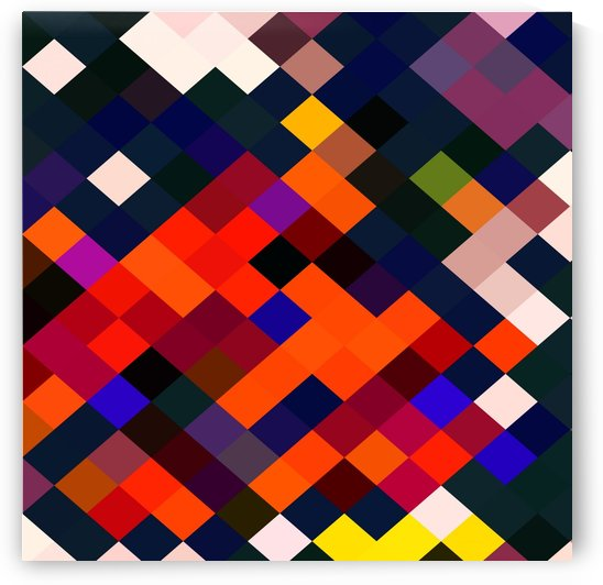 geometric square pixel pattern abstract in orange brown blue yellow  by TimmyLA