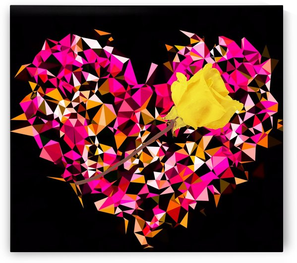geometric polygon heart shape pattern abstract in pink orange with yellow rose by TimmyLA