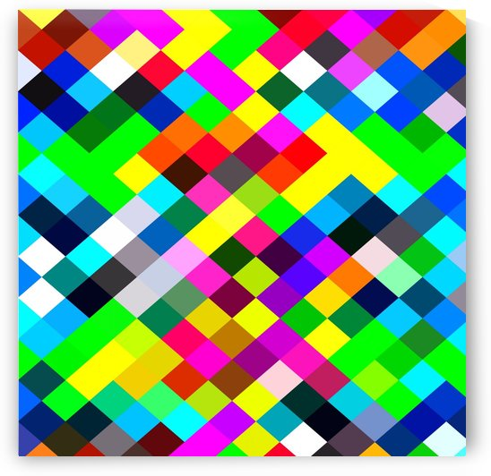 geometric square pixel pattern abstract in blue yellow pink green red by TimmyLA