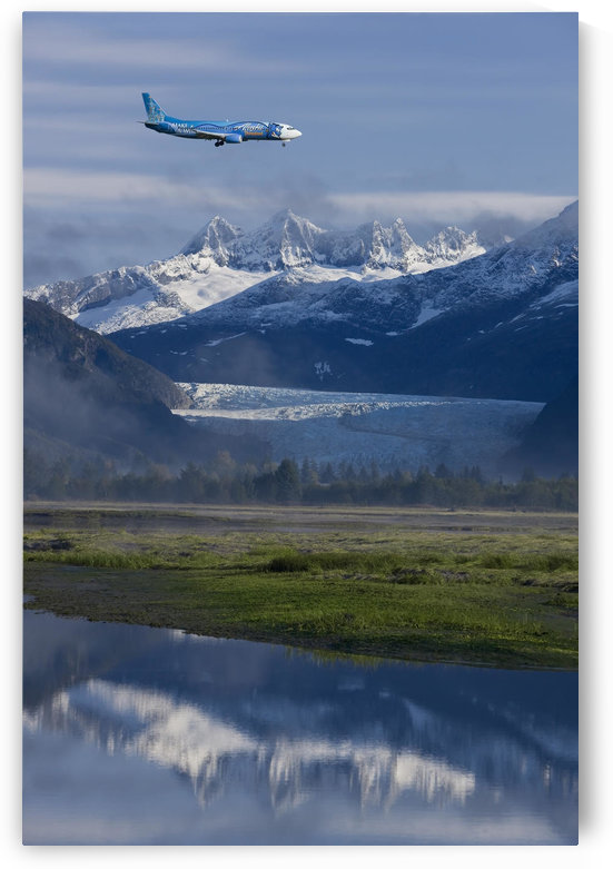 Alaska Airlines *Disney* Jet Approaches For A Landing At The Juneau International Airport With Mendenhall Glacier And Towers In The Background by PacificStock