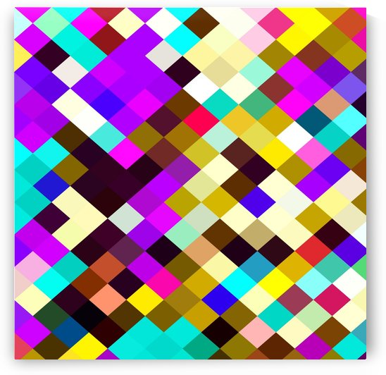 geometric square pixel pattern abstract in purple pink yellow blue brown by TimmyLA