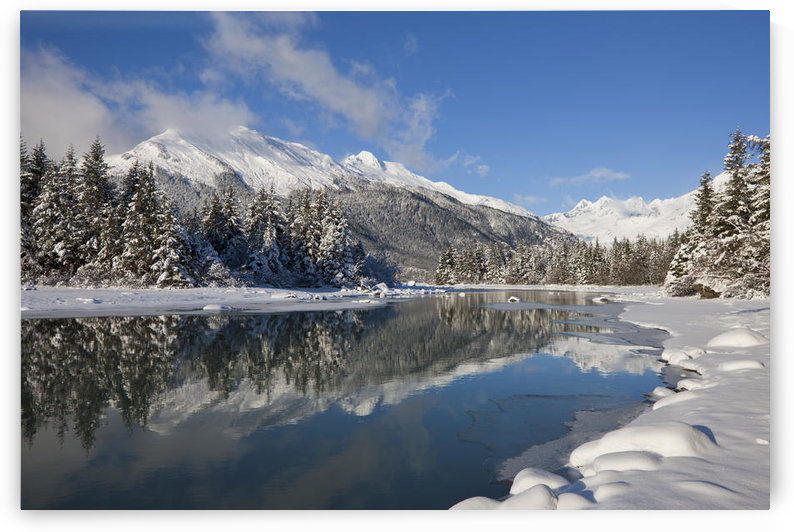 Scenic Winter Landscape Of Mendenhall River, Mendenhall Glacier And Towers, Tongass National Forest, Southeast Alaska by PacificStock