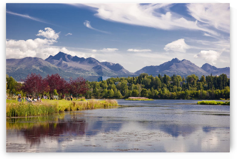 View Over Westchester Lagoon And The Chugach Mountains During Summer, Anchorage, Southcentral Alaska by PacificStock