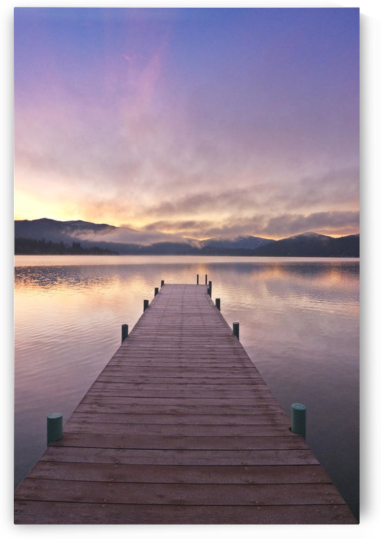Footprints Leading Down A Frost Coverd Dock At Sunrise On Lake Whatcom During Winter, Bellingham Washington, Usa. by PacificStock