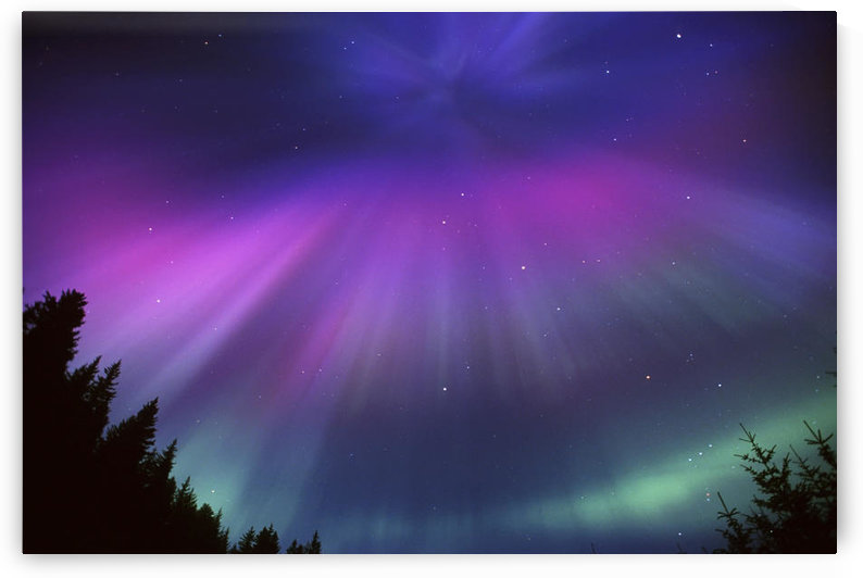 Aurora Corona Over Crow Creek Girdwood During Winter In Southcentral Alaska by PacificStock