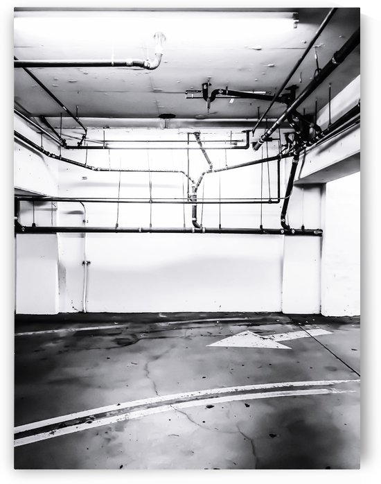 underground parking lot with tube in black and white by TimmyLA