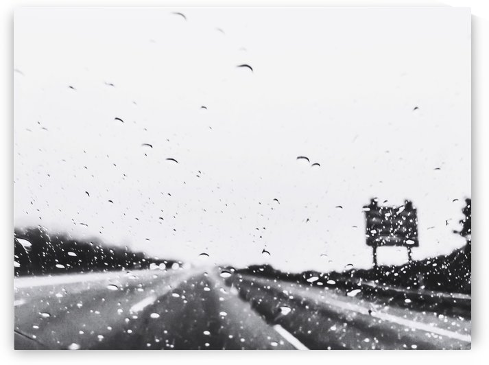on the road in the rainy day in black and white by TimmyLA