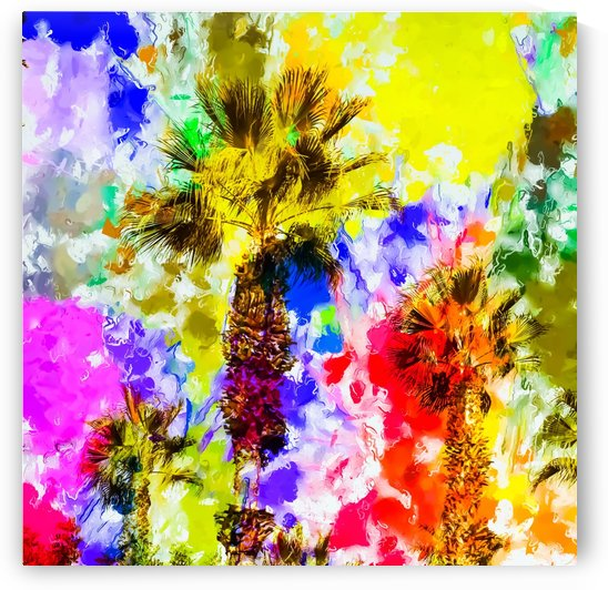 palm tree with colorful painting texture abstract background by TimmyLA