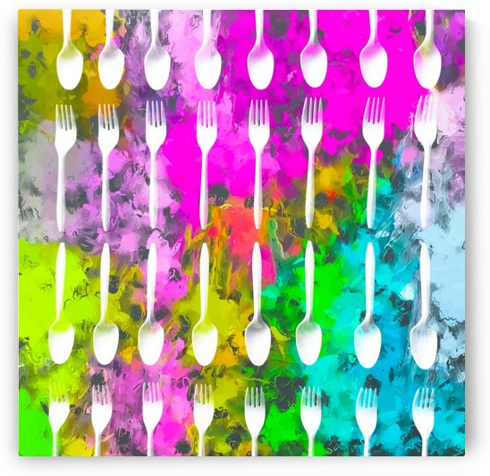 fork and spoon pattern with colorful painting abstract background by TimmyLA