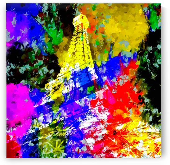 Eiffel Tower, France at night with colorful painting abstract background by TimmyLA