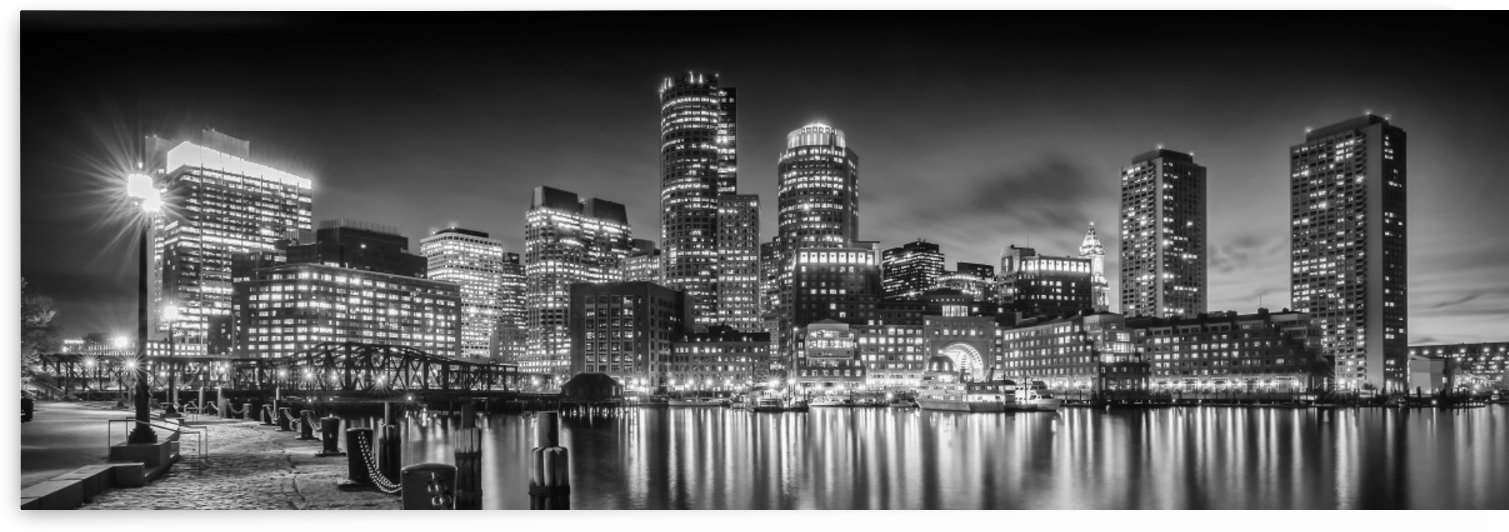 BOSTON Fan Pier Park & Skyline in the evening | Monochrome Panoramic by Melanie Viola