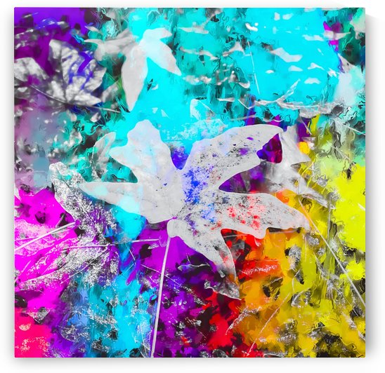 maple leaf with blue purple pink yellow painting abstract background by TimmyLA
