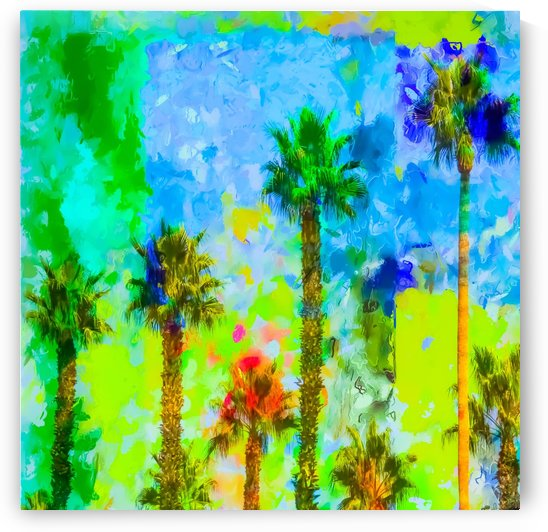 green palm tree with blue yellow green painting abstract background by TimmyLA