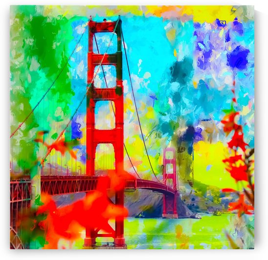 Golden Gate bridge, San Francisco, USA with blue yellow green painting abstract background by TimmyLA